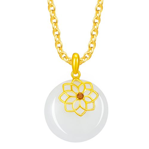 Golden Flower Jade Pendant